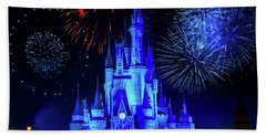 Cinderella Castle Fireworks Beach Towel
