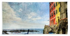 Cinque Terre - Little Port Of Riomaggiore - Vintage Version Beach Towel