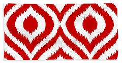 Circle And Oval Ikat In White T02-p0100 Beach Towel