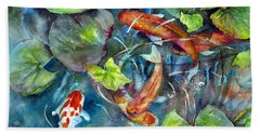 Beach Towel featuring the painting Circle Of Koi by Mary McCullah