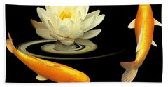 Circle Of Life - Koi Carp With Water Lily Beach Towel