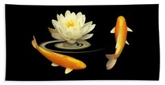 Circle Of Life - Koi Carp With Water Lily Beach Sheet