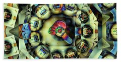 Circled Squares Beach Sheet by Ron Bissett