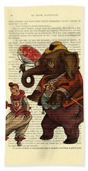 Clown With Circus Elephant Vintage Illustration Beach Towel
