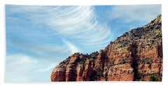 Beach Towel featuring the photograph Cirrus Clouds Over The Mesa by Lynda Lehmann
