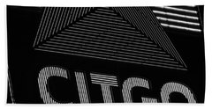Citgo Sign Closeup Boston Ma Black And White Beach Towel