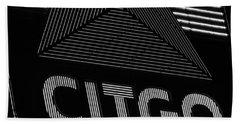 Citgo Sign Closeup Boston Ma Black And White Beach Sheet