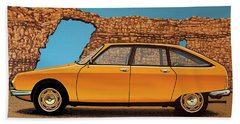 Citroen Gs 1970 Painting Beach Towel