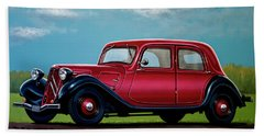 Citroen Traction Avant 1934 Painting Beach Towel