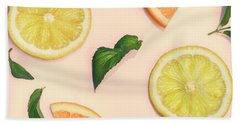 Citrus Pattern On Retro Pink Background Beach Towel