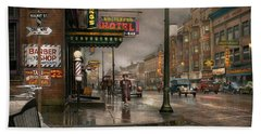 City - Amsterdam Ny -  Call 666 For Taxi 1941 Beach Towel