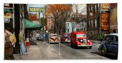 City - Amsterdam Ny - Downtown Amsterdam 1941 Beach Towel by Mike Savad