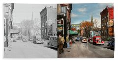 Beach Sheet featuring the photograph City - Amsterdam Ny - Downtown Amsterdam 1941- Side By Side by Mike Savad