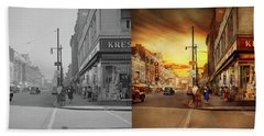Beach Towel featuring the photograph City - Amsterdam Ny - The Lost City 1941 - Side By Side by Mike Savad