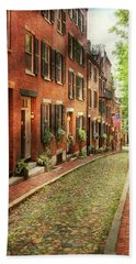 Beach Towel featuring the photograph City - Boston Ma - Acorn Street by Mike Savad