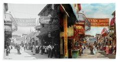 Beach Sheet featuring the photograph City - Coney Island Ny - Bowery Beer 1903 - Side By Side by Mike Savad