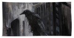 City Dweller Raven Dark Gothic Crow Wall Art Beach Sheet by Gray Artus