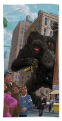 Beach Towel featuring the digital art City Invasion Furry Monster by Martin Davey
