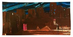 Beach Towel featuring the painting City Lights by Norma Duch