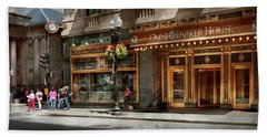 Beach Towel featuring the photograph City - Ma Boston - Meet Me At The Omni Parker Clock by Mike Savad