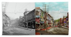 Beach Towel featuring the photograph City - Ma Glouster - A Little Bit Of Everything 1910 - Side By Side by Mike Savad
