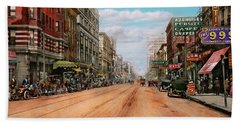 Beach Towel featuring the photograph City - Memphis Tn - Main Street Mall 1909 by Mike Savad