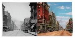 Beach Sheet featuring the photograph City - Memphis Tn - Main Street Mall 1909 - Side By Side by Mike Savad
