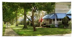 Beach Towel featuring the photograph City - Naval Academy - A Walk Down Captains Row by Mike Savad