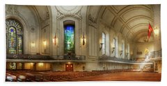Beach Towel featuring the photograph City - Naval Academy - God Is My Leader by Mike Savad