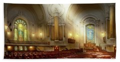 Beach Towel featuring the photograph City - Naval Academy - The Chapel by Mike Savad