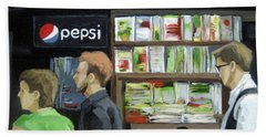 City Newsstand - People On The Street Painting Beach Towel