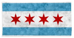 Beach Towel featuring the mixed media City Of Chicago Flag by Christopher Arndt