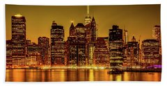 Beach Towel featuring the photograph City Of Gold by Chris Lord