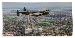 Beach Towel featuring the photograph City Of Lincoln Vn-t Over The City Of Lincoln by Gary Eason