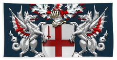 City Of London - Coat Of Arms Over Blue Leather  Beach Towel