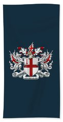 City Of London - Coat Of Arms Over Blue Leather  Beach Sheet