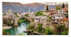 City Of Mostar And Neretva River Beach Towel