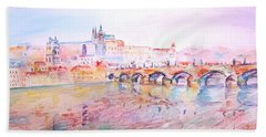 Beach Sheet featuring the painting City Of Prague by Elizabeth Lock