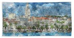 City Of Split In Croatia With Birds Flying In The Sky Beach Towel