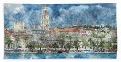 City Of Split In Croatia With Birds Flying In The Sky Beach Towel