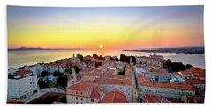 City Of Zadar Skyline Sunset View Beach Towel