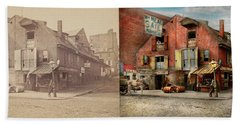 Beach Sheet featuring the photograph City - Pa - Fish And Provisions 1898 - Side By Side by Mike Savad