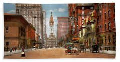 Beach Sheet featuring the photograph City - Pa Philadelphia - Broad Street 1905 by Mike Savad