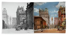 Beach Sheet featuring the photograph City - Pa Philadelphia - Broad Street 1905 - Side By Side by Mike Savad