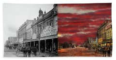 Beach Sheet featuring the photograph City - Palmerston North Nz - The Shopping District 1908 - Side By Side by Mike Savad
