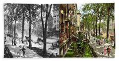 Beach Towel featuring the photograph City - Saratoga Ny -  I Would Love To Be On Broadway 1915 - Side By Side by Mike Savad