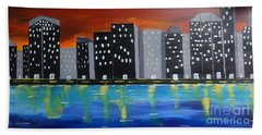 City Scape_night Life Beach Towel