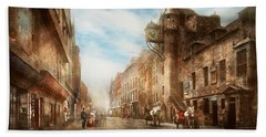 Beach Towel featuring the photograph City - Scotland - Tolbooth Operator 1865 by Mike Savad