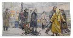 Beach Towel featuring the painting City Snow Ride by Donna Tucker