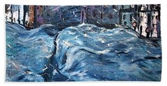 City Snow Storm Beach Towel